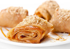 Rolled pancakes with caramel mousse Royalty Free Stock Photography