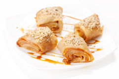 Rolled pancakes with caramel mousse Royalty Free Stock Photo