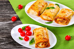Rolled pancakes or crepes stuffed with minced meat and vegetable Stock Image
