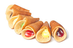 Rolled pancakes with sweet stuffed Royalty Free Stock Images