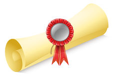 A rolled paper with a red ribbon Royalty Free Stock Photo