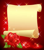 Rolled parchment and rose Stock Photos