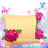 Rolled parchment and roses Royalty Free Stock Photo