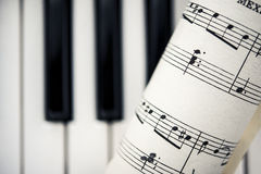 Vintage Sheet Music With Piano Keys Royalty Free Stock Photos