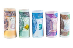 Rolled polish zloty new banknotes Stock Photography