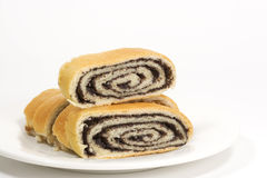 Rolled Poppy Seed filled Kolache stock image