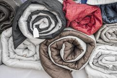 Rolled quilts Royalty Free Stock Photos