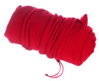 Rolled red blanket in bag Royalty Free Stock Images