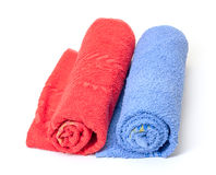Rolled red and blue towels Royalty Free Stock Images
