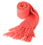 Rolled red textile scarf isolated. On white background Stock Image