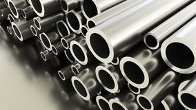 Rolled round metal industrial shiny tubes background, 3d render of metallic objects, shaped tubes. Rolled round metal industrial shiny tubes background, 3d stock footage