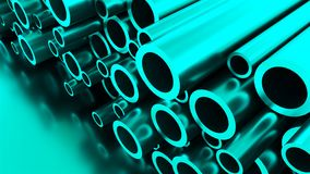 Rolled round metal industrial shiny tubes background, 3d render of metallic objects, shaped tubes. Rolled round metal industrial shiny tubes background, 3d stock video