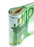 Rolled with rubber euro notes Royalty Free Stock Photography