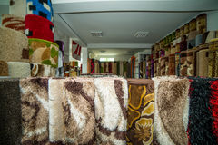 Rolled Rugs Inside A Rug Store Stock Photo