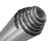 Rolled shutters. Rolled in a roll of metal roller shutters vector illustration