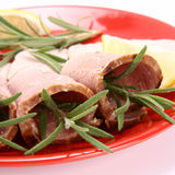 Rolled Slices Of Ham Stock Photos