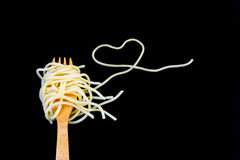 Rolled spaghetti on fork Royalty Free Stock Images