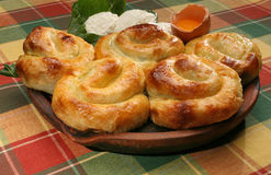 Rolled  spinach pies Stock Photos