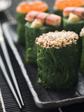 Rolled Spinach Three Ways-Snow Crab Toasted Sesame Stock Photography