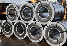 Rolled steel. It rolled steel raw materials for further processing Royalty Free Stock Photography
