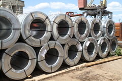 Rolled steel. Is a raw material for further processing Stock Photos