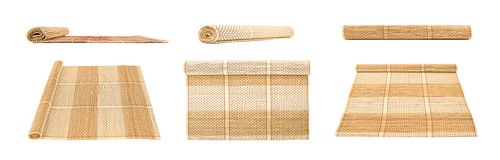 Rolled straw mat isolated Royalty Free Stock Photo