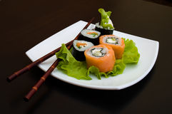 Rolled and sushi Stock Images