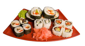 Rolled and sushi Royalty Free Stock Photo