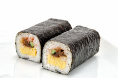 Rolled sushi. Isolated on a white background Royalty Free Stock Photography