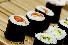Rolled sushi, salmon avo Stock Photography