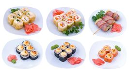 Rolled and sushi set Stock Photo