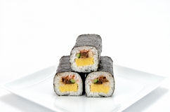 Rolled sushi. On a white background Stock Photo