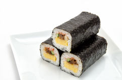 Rolled sushi. On a white background Stock Image