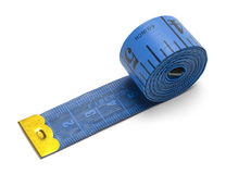 Rolled Tape Measure. Blue Sewing Tape Measure Isolated on a White Background Royalty Free Stock Photography