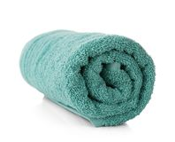 Rolled terry towel. On white background Stock Photo
