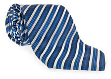 Rolled tie with colorful decorative strips of garnet blue and white. Stock Image