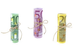 Rolled and tied Euro banknotes Stock Photo
