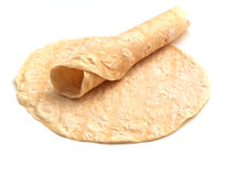 Rolled tortilla. Isolated on white background Royalty Free Stock Photo
