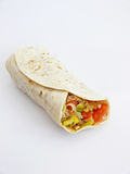 Rolled tortilla. Isolated on the white background Stock Photos