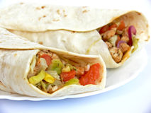 Rolled tortillas details stock image