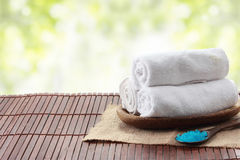 Rolled towel in a tray, spa Royalty Free Stock Images