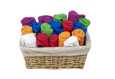 Rolled Towels in a Basket Stock Photography