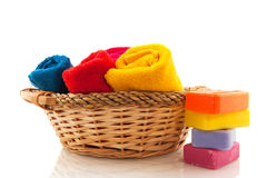 Rolled towels and soap Royalty Free Stock Photography