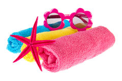 Rolled towels with starfish Royalty Free Stock Photography