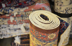 Rolled Turkish carpet. Stock Image