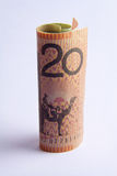 Rolled up Australian 20 dollar note Royalty Free Stock Photos