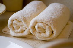 Rolled up bath towels Stock Image