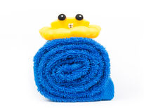 Rolled up blue towel Royalty Free Stock Images