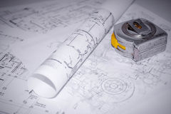 Rolled up Blueprint B2 Royalty Free Stock Image