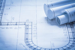 Rolled up blueprint rolls construction concept Stock Photo
